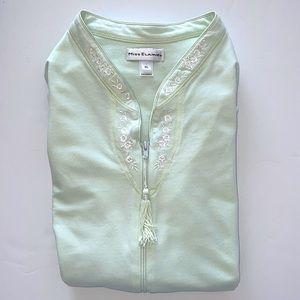 Minty Green Miss Elaine ZipFront Short Sleeve Robe
